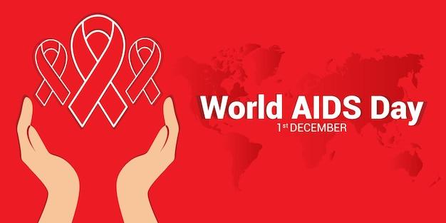 Plantilla de fondo de concientización sobre el día mundial del sida para diseños de carteles y banners web