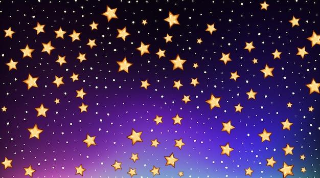Plantilla de fondo con estrellas brillantes en cielo oscuro