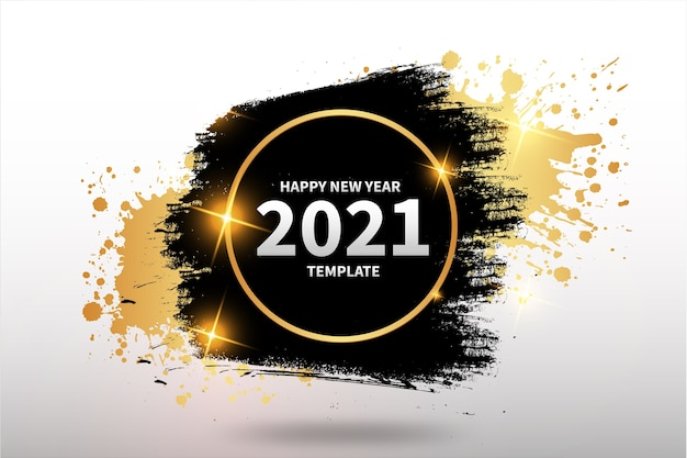 Plantilla de fondo de feliz año nuevo con fondo de trazo de pincel dorado