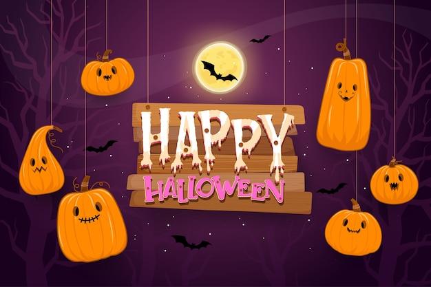Plantilla de fondo de feliz halloween en la oscuridad con calabaza