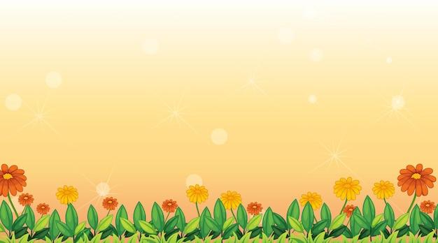Plantilla de fondo con flores en el campo