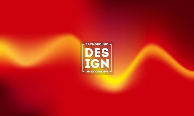Plantilla de fondo de flujo de color rojo y amarillo, ilustración de fondo ondulado abstracto