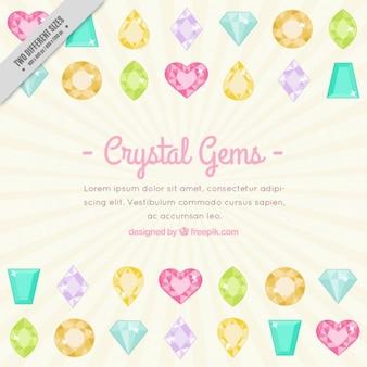 Plantilla de fondo con gemas de cristal bonito