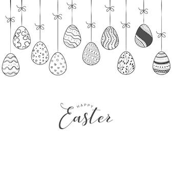 Plantilla de fondo de huevos de pascua con encuadre y copia espacio