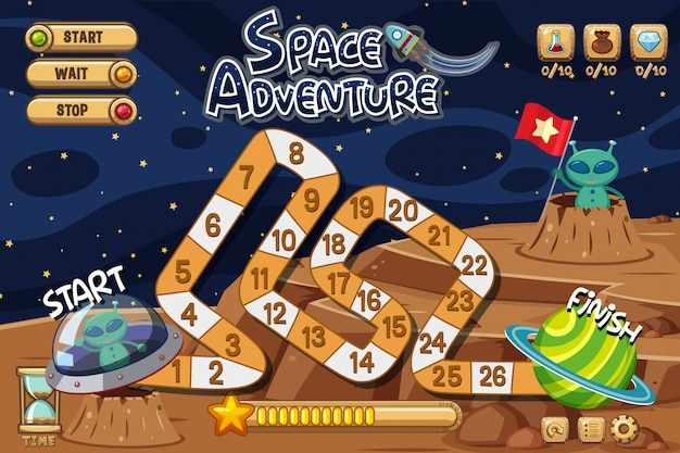 Plantilla de fondo del juego con extraterrestres en la luna