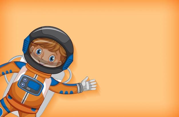 Plantilla de fondo liso con astronauta feliz sonriendo