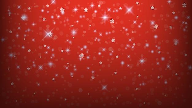 Plantilla de fondo de navidad, resumen luces copo de nieve sobre fondo rojo.