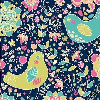 Plantilla de fondo de patrones sin fisuras florales animales