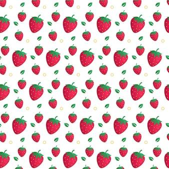 Plantilla de fondo plano de patrones sin fisuras de fresa