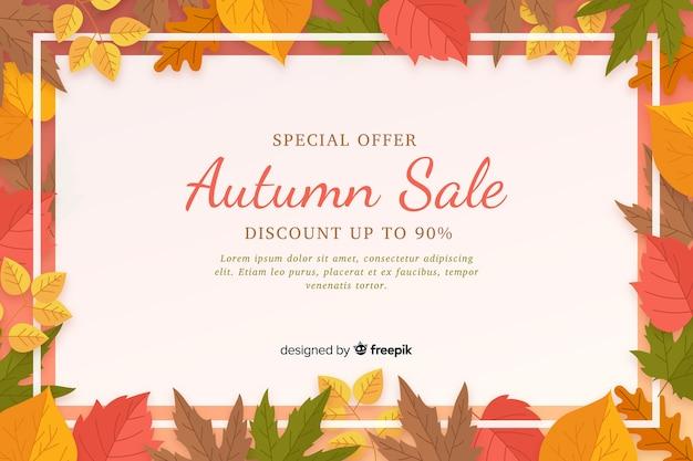Plantilla de fondo plano de venta de otoño