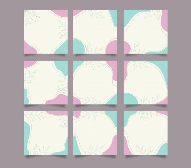 Plantilla de fondo de publicación de instagram de redes sociales linda moderna en estilo de rompecabezas de cuadrícula