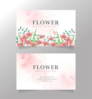 Plantilla de fondo de splash de tarjeta de nombre de flor rosa