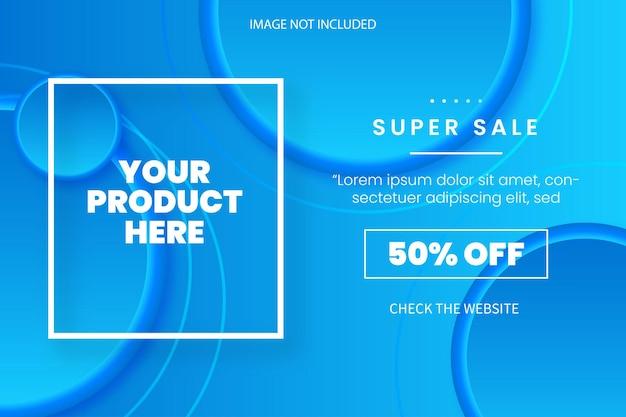 Plantilla de fondo de súper venta moderna con círculos azules 3d abstractos