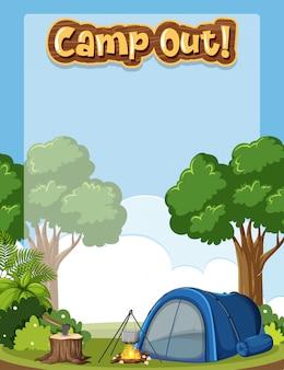 Plantilla de fondo con tema de camping
