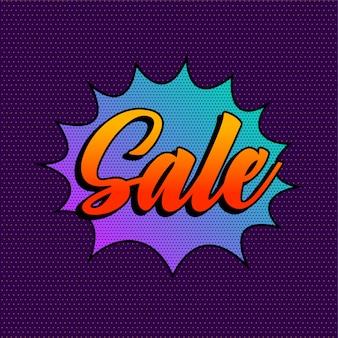 Plantilla de fondo de venta púrpura de estilo cómico