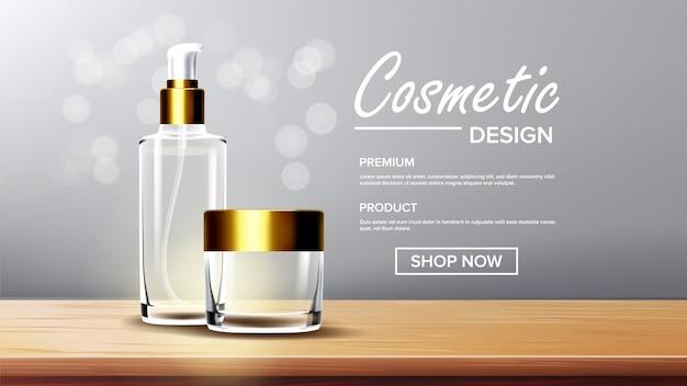 Plantilla de fondo de vidrio cosmético