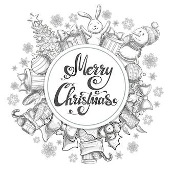 Plantilla de forma de círculo con iconos de navidad. ilustración de navidad de estilo boceto monocromo para decoración.