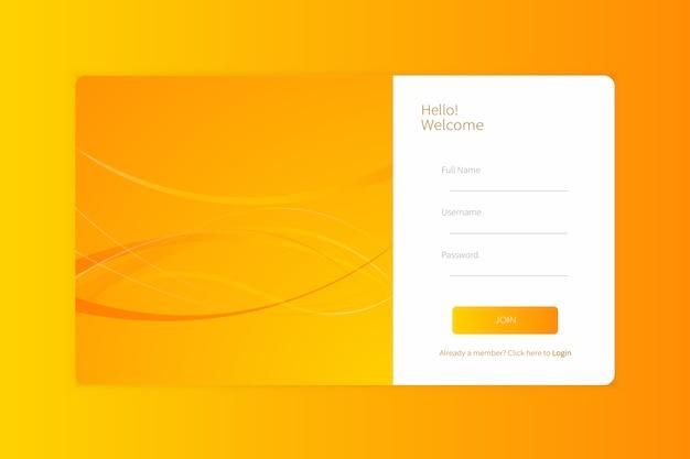 Plantilla de formulario de inicio de sesión o registro de página de destino