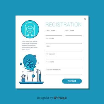 Plantilla de formulario de registro con diseño plano