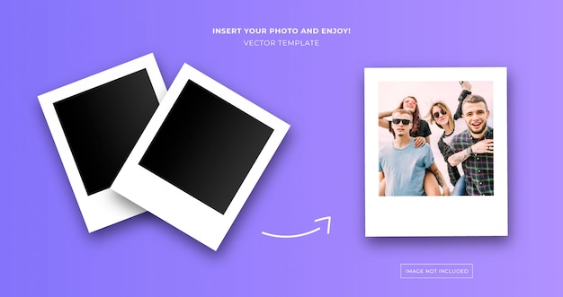 Plantilla de foto instantánea polaroid