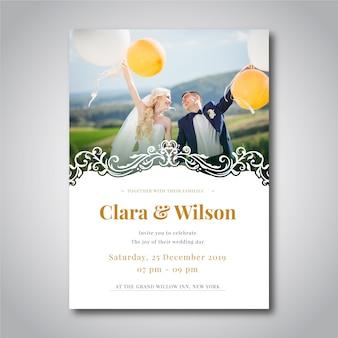 Plantilla de foto de invitación de boda