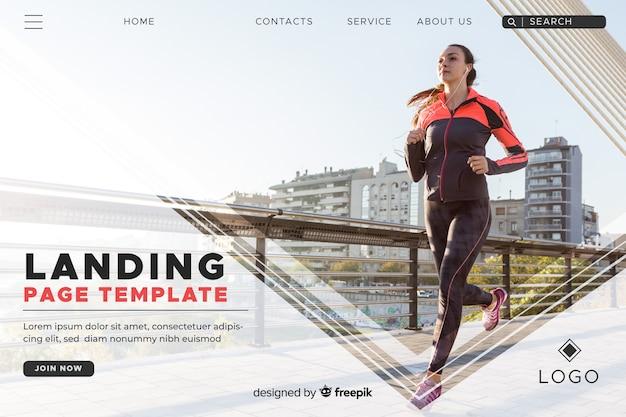 Plantilla con foto de landing page de deporte