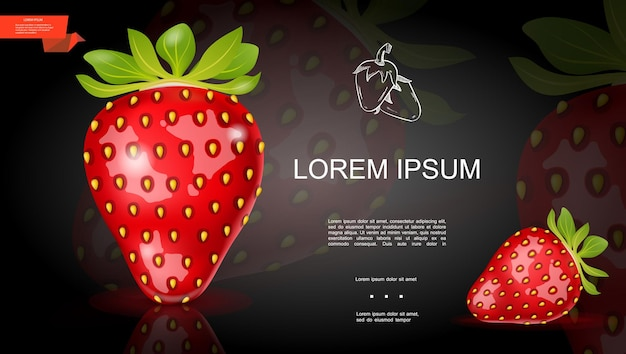 Plantilla de fresa fresca realista con bayas maduras saludables sobre fondo oscuro