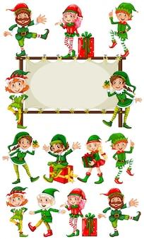 Plantilla de la frontera con los duendes de la navidad