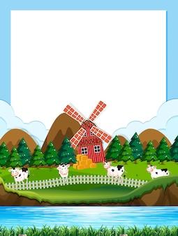 Plantilla de frontera de granja de vaca