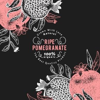 Plantilla de fruta de granada. mano dibuja la ilustración de fruta en pizarra. fondo botánico vintage de estilo grabado.