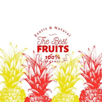 Plantilla de fruta de piña. dibujado a mano ilustración de frutas. grabado estilo vintage fondo tropical.
