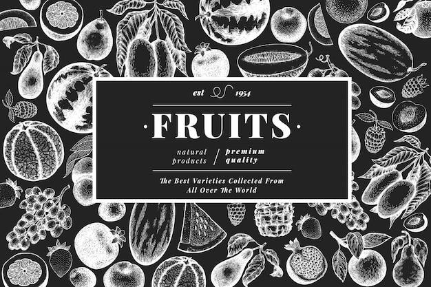 Plantilla de frutas y bayas.