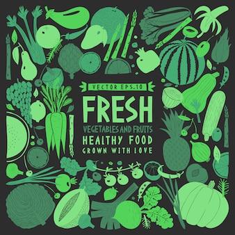 Plantilla de frutas y verduras dibujadas a mano divertida.