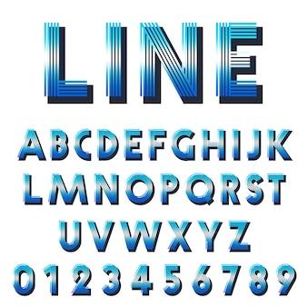 Plantilla de fuente retro conjunto de letras y números de líneas de diseño.