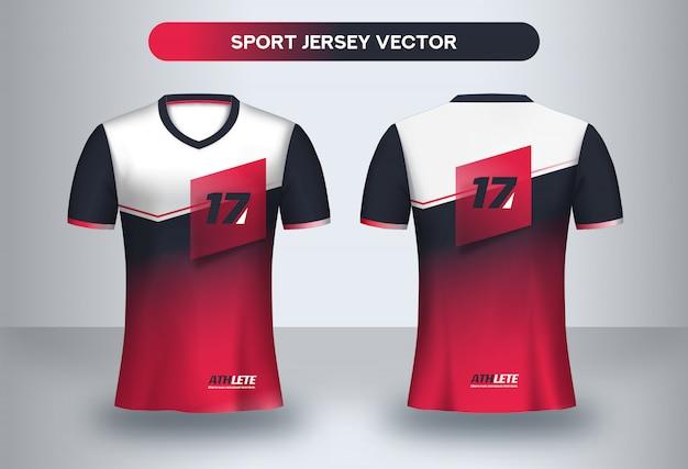 Plantilla de fútbol jsersey, camiseta de uniforme de club de fútbol vista frontal y posterior.