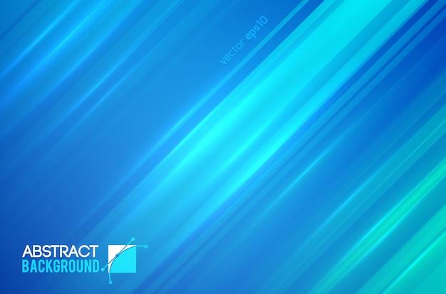 Plantilla futurista abstracta con líneas diagonales rectas y efectos de luz en la ilustración azul
