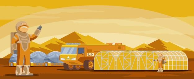 Plantilla futurista de colonización de marte con astronautas, camiones, investigación y edificios en el paisaje de montaña