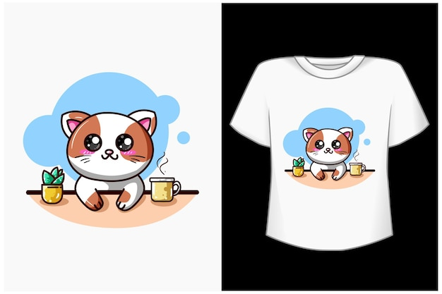 Plantilla gato feliz con ilustración de dibujos animados de café