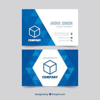 Plantilla geométrica azul de tarjeta de visita