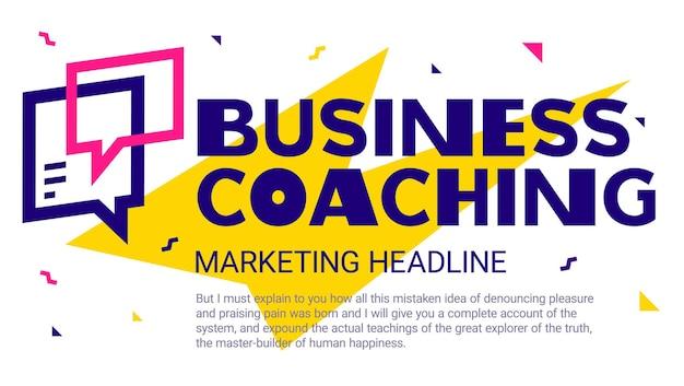 Plantilla geométrica con coaching empresarial de word y bocadillo sobre fondo blanco.