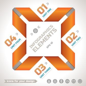 Plantilla geométrica de infografías originales con cintas retorcidas de papel naranja