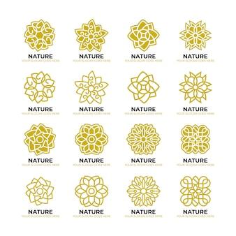 Plantilla geométrica del logotipo de la naturaleza de la flor