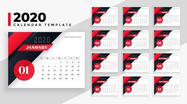 Plantilla geométrica moderna del calendario 2020