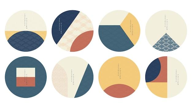 Plantilla geométrica con patrón japonés en estilo asiático de japón. artes abstractas. diseño de logotipo e icono.