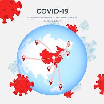 Plantilla de globo de coronavirus