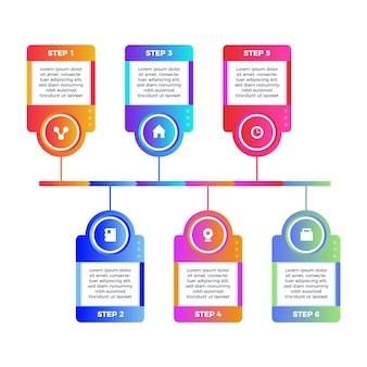 Plantilla de gradiente pasos infografía