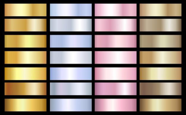 Plantilla de gradientes de oro, plata y bronce. efecto metálico del vector