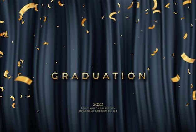 Plantilla de graduado de felicitaciones con cintas doradas y confetty sobre fondo de cortinas negras.