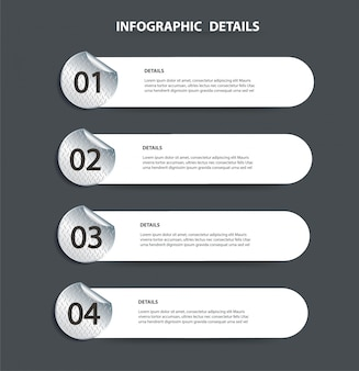 Plantilla gráfica de información de metal de placa con 4 opciones
