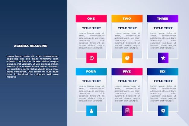 Plantilla de gráfico de agenda para infografía